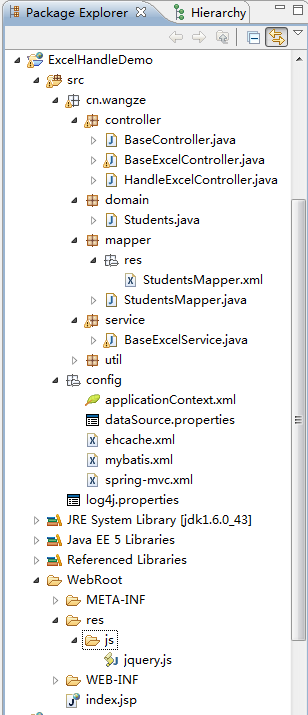 java upload and download processing of excel tables