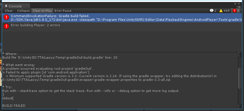 Unity 5 6 x Gradle build APK error reporting Connection refused solution