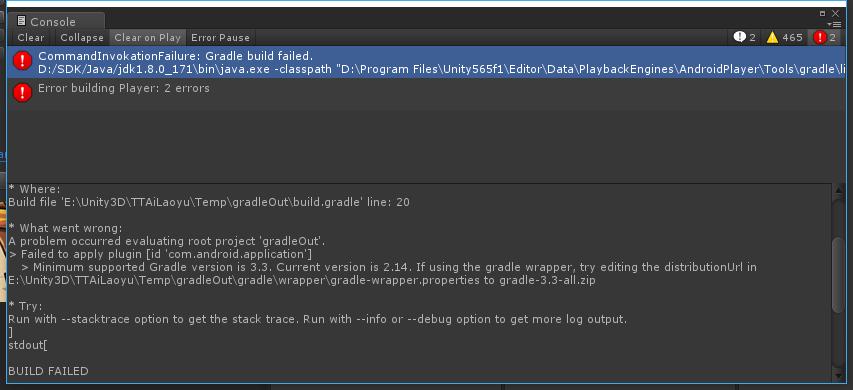 Unity 5 6 x Gradle build APK error reporting Connection refused solution