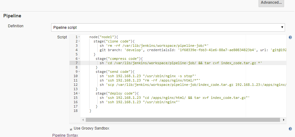 pipeline implementation of jenkins specifies the node